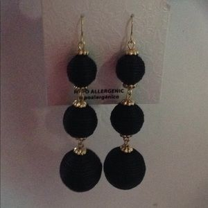 Jewelry - Black baubles ball gold tone earrings NWT
